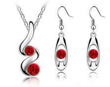 Stylish Wave Red Jewellery Set Drop Earrings and Necklace with Pendant S712