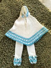 Vintage Baby Girl 2 Piece Knit Hooded Poncho W/Matching Pants White & Blue Be'Be