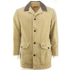 R.M. Williams Brown Cotton Moleskin Jacket Coat Men Small Leather Collar Button