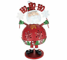 Home Reflections Bobble Christmas Decor Santa with Flameless Candle and Timer