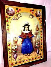 "Mexico Folk Art Wood Framed print/paint ""Santo NiÑo de Atocha"" 24"" x 36"" Huge"