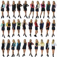 Alevona Women Ladies L-Slv Knitted Metallic Lurex Shrug Cardigan Bolero SZ 6-18