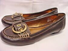 MERONA BROWN LEATHER LOAFER FLATS W/ STRAP & BUCKLE ACCENT 6.5 M