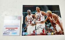 "Bulls M.J ""Black Cat"" & Pippen & Rodman 3 Legends Autographed Photo + COA"