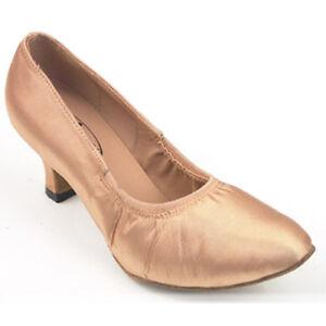"680407 2.2"" Flesh Satin Very Good Quality Ladies Ballroom Dance Shoes (Sz4-10.5)"