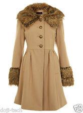 Miss Selfridge Camel Wool Fur Collar Cuff Vtg Skirted Princess Dress Coat 8 36 S
