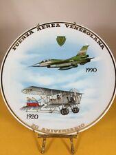 Fuerza Aerea Venezolana 1920-1990 Gold Trim Porcelan Plate Very Rare