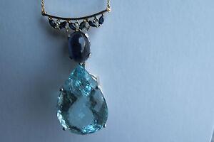 Santa Maria vivid blue 49 carat Aquamarine Sapphire & Diamond 18k gold  necklace
