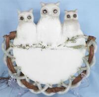 Antique 3 Owls Milk Glass Plate Basketweave Border EAPG Ribbon Westmoreland