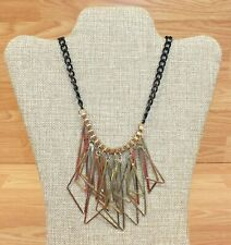 Black & Gold Toned This Metal Women's Costume Jewelry Dangle Necklace **READ**