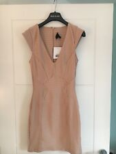 Topshop Cream Nude Gold Bandage Zip Bodycon V Party Mini Dress BNWT 8 RRP £48