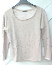 promod Sweatshirt Damenshirt 100% Baumwolle Sternchen Langarm beige Gr.S