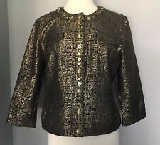 Ruby Rd. Glittery Gold & Black Brocade Snap Front Bead Embellished Jacket Sz 12