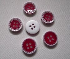8 BOUTONS ROUGE & BLANC * 13 mm 1,3 cm *  4 trous * Button Red & white couture