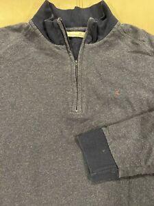 Men's Criquet Long Sleeve  Quarter Zip Cotton Pique Pullover Blue SZ Medium