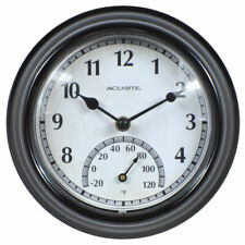 Thermometer Analog Wall Clock Battery Powered Indoor and Outdoor