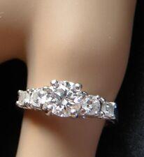 Diamond  round and emerald cut engagement semi mount wedding setting