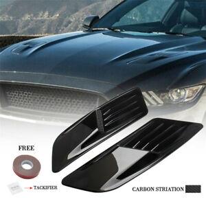 2PCS Carbon Fiber Hood Bonnet Scoop Vent Cover Kit W/Adhesive Fit For Racing Car