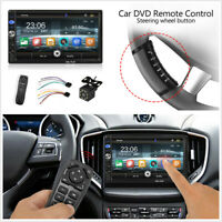 2 DIN 7'' Car Stereo Radio MP5 Player BT w/Steering Wheel Remote Rearview Camera