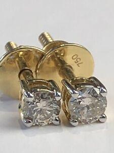 18 Carat Yellow Gold 0.20 Carats of Diamonds Ladies Studs Earrings