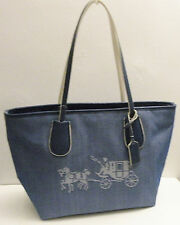 NWT Coach 35337 Embossed Horse And Carriage Taxi Zip Tote In Canvas Denim Chalk