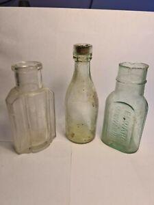 3 x Vintage Glass Bottles Old Antique