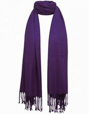 Purple Pashmina Scarf 100% Viscose Plain Wrap Shawl Stole Scarf