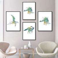 4pcs Watercolor Animal Canvas Painting Dinosaur Art Print Kids Room Modern Decor