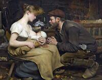 Parents Happiness by French  Jean-Eugène Buland. Canvas Fine Art. 11x14 Print
