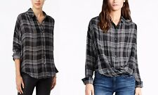 Womens William Rast Aster Cross Front Baggy Button Down Shirt Black Plaid S
