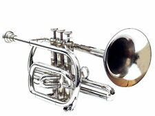 RCHU_0 NEW CORNET 3 VALVE SILVER Bb FLAT PERFECT SOUND QUALITY + CASE & M/P