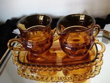 Kings Crown Thumb Print Amber Open Sugar & Creamer & Tray