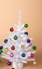 """GERSON 18"""" MINIATURE PINE CHRISTMAS TREE w/20 ORNAMENTS & ROUND BASE STYLE 2"""