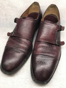 J.M.  Men's  Leather Double Monk Strap Cap Toe 11.5 M Burgundy Made In Dim. Rep.
