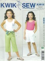 Kwik Sew 3518 Girls' Pants, Shorts and Top 4 to 14  Sewing  Pattern