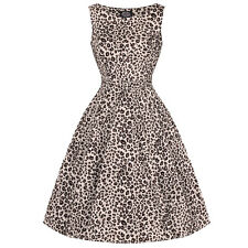 Hearts and Roses London Leopard Print 1950s Retro Rockabilly Vintage Midi Dress
