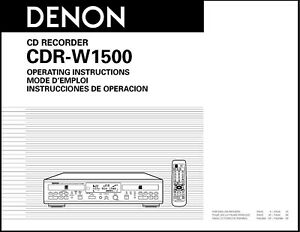 Denon CDR-W1500 CD Recorder Owner's Manual - Operating Instructions