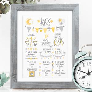 YELLOW New Baby Birth Stats Print, Personalised New Baby Gift, Christening Gift