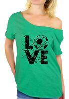 LOVE Soccer Women's Off Shoulder Tops T shirt Team Sports Soccer Gifts