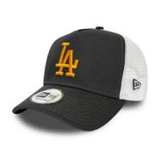 New Era Men's MLB Los Angeles Dodgers Grey Yellow A-Frame Essential Trucker Cap