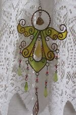 """New listing angel wind chime yellow stained glass appearance - angel 7.5 x 5"""" - 27"""" long"""