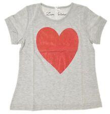 Louis & Louisa Herz Kinder-T-Shirt kurzarm (128/134, grau)