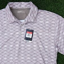 Nike Golf Mens Polo Shirt Size Large Fit Dry Brown White Diamonds Geometric Poly