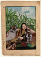 Hand-Painted Miniature Painting Of Tiger With Lady Finest Real Gold Art On Paper