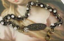 New Bronze Angel Word Charm Rhinestone Chain Mix Crystal Bead Charm Bracelet