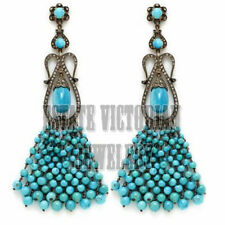 Victorian 3.20Cts Pave Rose Cut Diamond Turquoise Studded Silver Jewelry Earring