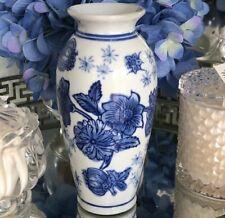 Blue and White Ceramic Floral Vase Hamptons Coastal Style Decor 15 cm H Vessel