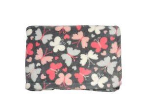 Baby Gear Gray Pink White Butterfly Heart Girl Fleece Blanket Lovey Soft EUC