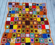 "The ""Gustav Klimt"" Psychedelic Hand Crochet Granny Afghan Throw  55 x 66 inches"