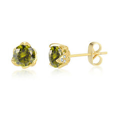 August Yellow Gold Plate Green Peridot Cubic Zirconia Stud Earrings Wedding-Gift
